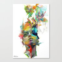 watercolor Canvas Prints featuring Dream Theory by Archan Nair
