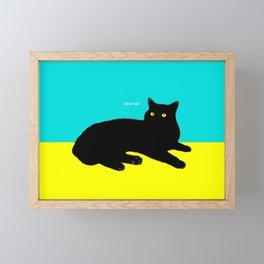 Black Cat on Yellow and Sky Blue Framed Mini Art Print