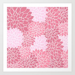 Bubblegum Pink Dahlias Art Print