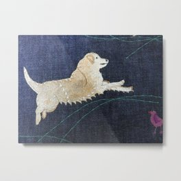Golden Retriever on Textile by Jackie Wills Metal Print