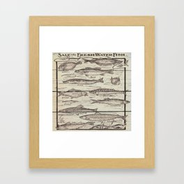 father's day fisherman gifts whitewashed wood lakehouse freshwater fish Framed Art Print