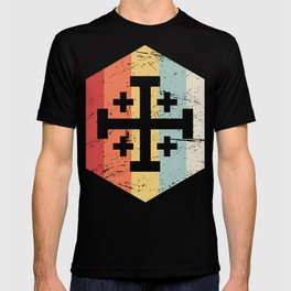 Retro Templar Cross Of Jerusalem Icon T-shirt