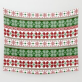 Green & Red Winter Fair Isle Wall Tapestry