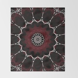 Deep Ruby Red Mandala Design Throw Blanket
