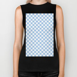 White and Baby Blue Checkerboard Biker Tank