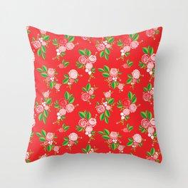 Red Summer Rose Throw Pillow