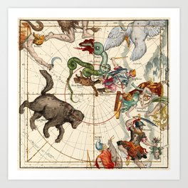 Ursa Major, Ursa Minor, Perseus, Hercules, Cassiopea, Andromeda And Other Constellations Art Print