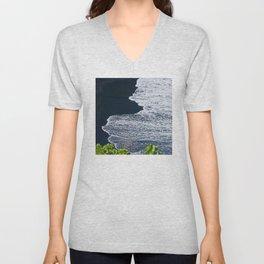 Tropical Island Black Sand Beach With Ivory Surf Unisex V-Neck