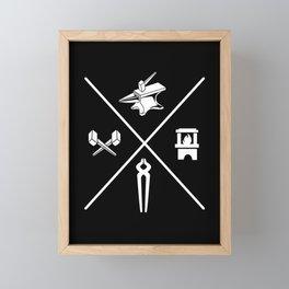 Blacksmith Tools Anvil Tong Hammer Fire Bladesmith Framed Mini Art Print