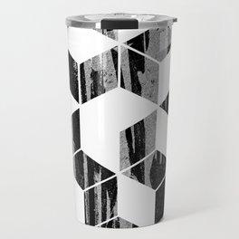 Elegant Black and White Geometric Design Travel Mug