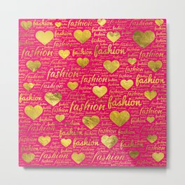 Fashion Word Art witth Gold hearts on Bright Pink, Metal Print