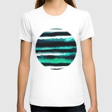 Abstract green and black painting White Womens Fitted Tee LARGE