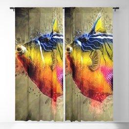 Great Barrier Reef Trigger Fish Marine Portrait Blackout Curtain