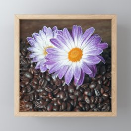 COFFEE with VIOLET DAISY Framed Mini Art Print