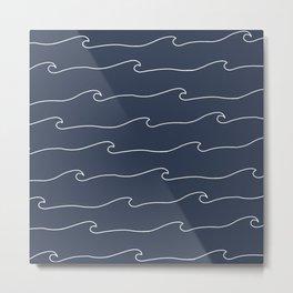 Waves & Lines - Pattern - Dark Blue Metal Print