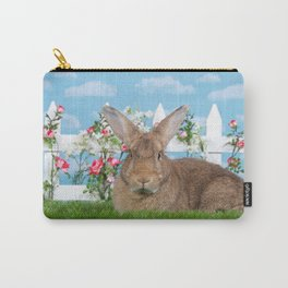 Large brown bunny rabbit in a flower garden Carry-All Pouch