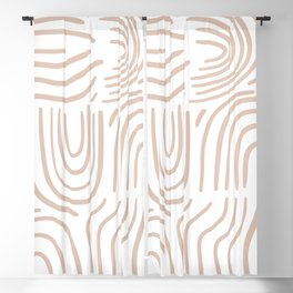 Abstract line pattern blush pink Blackout Curtain