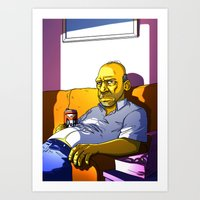 homer Art Prints featuring Depressed Homer by Adrien ADN Noterdaem