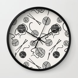 Needles and Yarn, Black and Cream Wall Clock