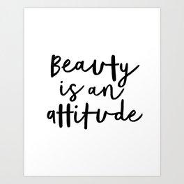 Beauty is an Attitude black-white typography poster design modern canvas wall art home decor Art Print