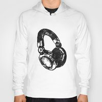 headphones Hoodies featuring Headphones by Fig and Berry Clothing