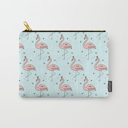 Cute Pink Flamingo with gold crown pattern Carry-All Pouch