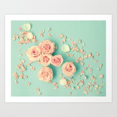 Composition of roses over mint Art Print
