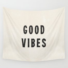 Distressed Ink Effect Good Vibes | Black on Off White Wall Tapestry