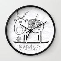 ski Wall Clocks featuring Apres ski by Farnell