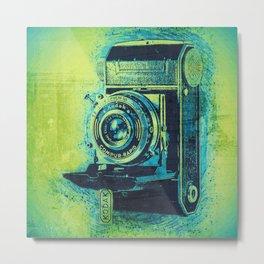 Green Retro Vintage Kodak Camera Metal Print