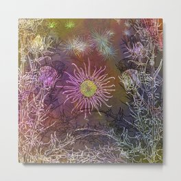 Milk Thistle Drawing Lights and Darks Metal Print