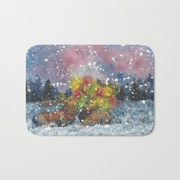It's a merry christmas in the snowy moor Bath Mat