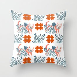 Pattern with cats and flowers. Throw Pillow