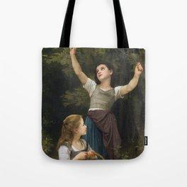 """William-Adolphe Bouguereau """"Récolte de noisettes (Harvest of hazelnuts)"""" Tote Bag"""