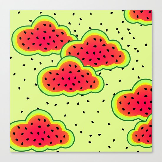 Watermelon Clouds Design Canvas Print