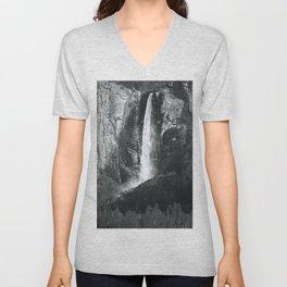 Bridalveil Falls. Yosemite California in Black and White Unisex V-Neck