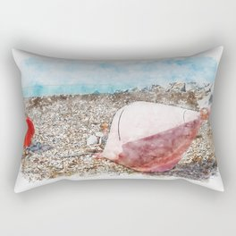 Aquarelle sketch art. Two big buoys on the beach, azure sea and the rocky beach, Tyrrhenian sea in Tuscany, Italy Rectangular Pillow