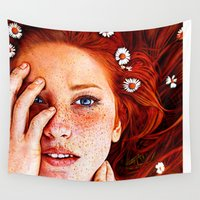 redhead Wall Tapestries featuring Quintessentially Redhead - Ballpoint Pen by Samuel Silva