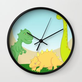 Friendly dinosaurs Wall Clock