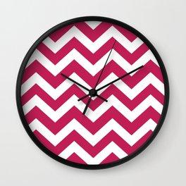 Rose red - fuchsia color - Zigzag Chevron Pattern Wall Clock