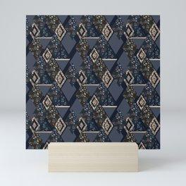 Seamless abstract patchwork plaid patches pattern dark backrgound Mini Art Print