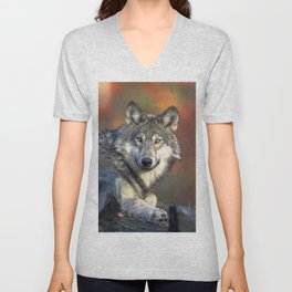 Wolf in the Woods Hunting Unisex V-Neck