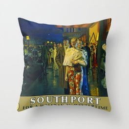 Southport for a holiday in the wintertime Travel Poster Throw Pillow