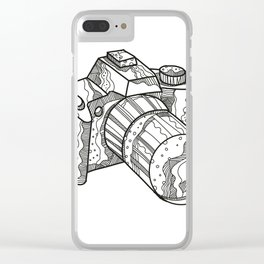 DSLR Camera Doodle Art Clear iPhone Case
