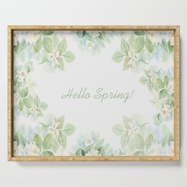 Spring floral watercolor painting & Quote Serving Tray