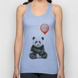 Panda and Red Balloon Baby Animals Watercolor Unisex Tank Top