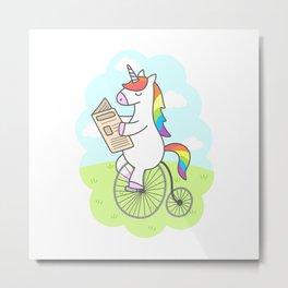 Unicorn Stroll Metal Print