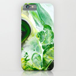 Green White Slime Abstract Painting iPhone Case