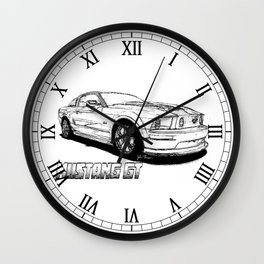 Mustang GT line drawing Wall Clock