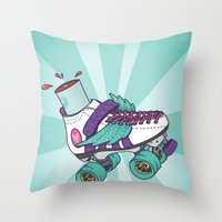 roller derby Throw Pillows featuring Roller Derby Motherf***er by Kiwii Illustration